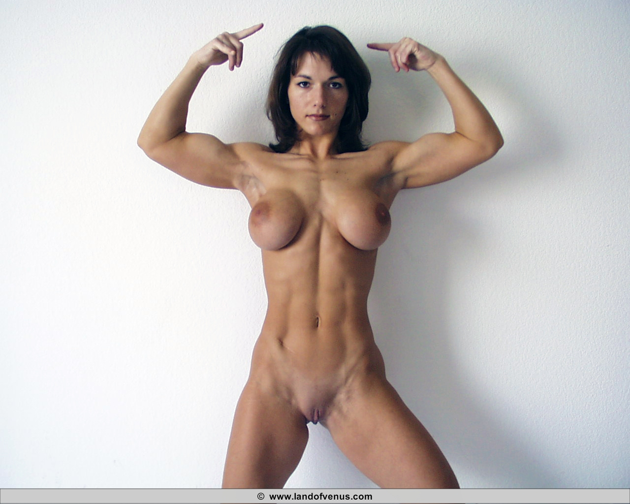 Female bodybuilder topless